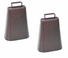 2 PACK STEEL COW BELL Antique Style Copper Finish Cowbell