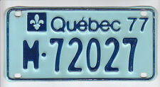 1977 Quebec Canada Motorcycle License Plate M - 72027 Moto Motocyclette Bike