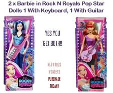 2 x Barbie in Rock N Royals Pop Star Dolls 1 With Keyboard, 1 With Guitar