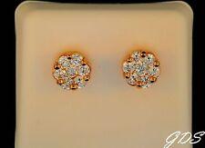 Men Women 14k Gold Tone 9mm INVISIBLE FLOWER Screw Back Lab Diamond Stud Earring