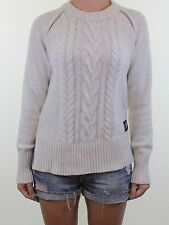 SUPERDRY beige cable knit wool blend crewneck jumper size S 10 euro 38