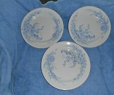 "3 ANTIQUE BROWNHILLS POTTERY CO HONITON BLUE/WHITE TRANSFERWARE 9 1/2"" PLATES"