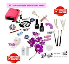"KIT UNGHIE SMALTO SEMIPERMANENTE ""SOAK-OFF"" 3 GEL UV NAILS LAMPADA + GUIDA"