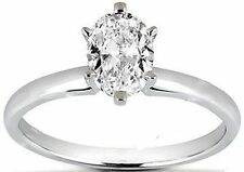 1 ct Oval Shape DIAMOND Engagement Solitaire 14K White Gold Wedding Ring H