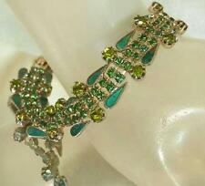 Beautiful Green Guilloche Rhinestone Vintage 50's Bracelet 236AG6