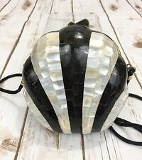 Vintage ILas Mother of Pearl Abalone Clam Shell Handbag Clutch 50s Luminescent
