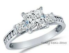 Princess Cut Three stone Ring 2.45 CT Anniversary Engagement Real 14k White Gold