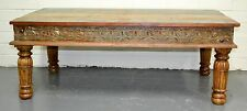 Recycled Timber Carved Coffee Table Rustic Industrial Country Vintage Antique