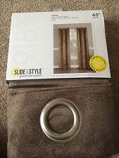 """NEW Slide & Style Velvet Grommet  Curtain Panel 40""""x 63"""" """"Latte"""""""