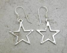 CUTE STERLING SILVER DANGLING CUT OUT STAR EARRINGS  style# e0550