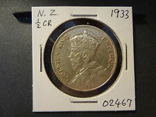NEW ZEALAND 1933 KGV  SILVER HALF CROWN, BETTER DATE, SHARP TYPICAL AU !