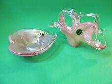 Murano Glass Pink Swirl Lavorazione Napkin Holder And Snack Dish. Made In Italy.