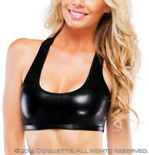 Sexy Lingerie Wet Look Leatheresque Racer Back Bra Top Sports Bra Adult Women
