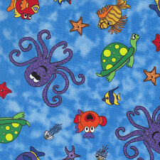Fat Quarter Under The Sea Whimsical Sea Life 100% Cotton Quilting Fabric