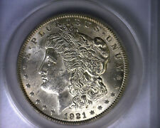MS62 ANACS 1921 TOP 100 VAM 27A INFREQUENTLY REEDED MORGAN SILVER DOLLAR COIN