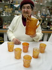 vintage carnival glass water set dugan maple leaf pitcher & 6 tumblers marigold