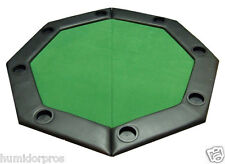 Pro Style Padded Octagon Folding Poker Table Top w/ Cup Holders and Bag Green