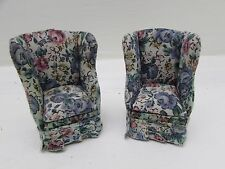 Two Beautiful Vintage Floral Pattern Dolls House Cushioned Footed Sofa Chairs