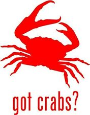 "Got Crabs Shellfish Car Window Decor Vinyl Decal Sticker- 6"" Tall White"