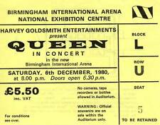 Queen Concert Ticket 6 December 1980 Birmingham NEC UK - original