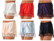 SATIN FRENCH KNICKERS PINK WHITE RED BLACK IVORY NAVY PURPLE PALE BLUE