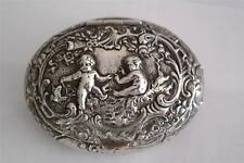J. D. Schleissner & Sohne German Hanau Repousse Silver Oval Snuff Box