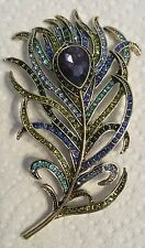 Heidi Daus SIGNED Pretty Peacock Feather Brooch Pin NEW HSN Swarovski Crystal