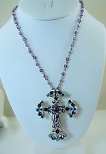 Kirks Folly Beautiful Cross Pin /  Necklace w/crystal chain  Silver finish purp