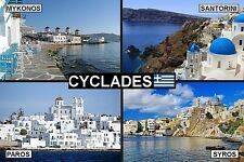 SOUVENIR FRIDGE MAGNET of THE CYCLADES GREECE & SANTORINI & MYKONOS & PAROS