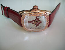 DEEP RED/ROSE GOLD FINISH LEATHER BAND MEN'S FASHION MASONIC STONE  WATCH