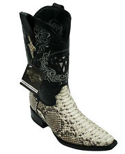 Genuine Men's  Python Skin Leather Cowboy Western Boots Style Square Toe