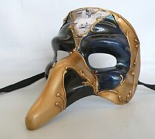 Masquerade Mask with Ribbon Tie Up - Big Gold Nose