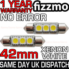 2x 42mm 3 Smd Led 264 C5w Canbus No Error Libre Blanco Luz Interior Festoon bombilla