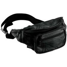 New Black Leather Waist Fanny Pack Belt Bag Pouch Travel Hip Purse Mens Womens
