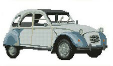 "Blue Citroen CV2 Car Counted Cross Stitch Kit 10"" x 5.8"" 25.4cm x 14.7cm"
