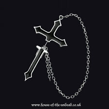 Alchemy Gothic Single Impalare Cross Pewter. Cut Through Earring. Gothic.