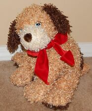 15' Ty Classic TYLER Tan & Brown Curly Plush Puppy Dog w/ Blue Eyes Red Bow 2005