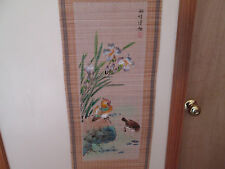 "Chinese Oriental 48"" Painting Hanging Bamboo Scroll Flowers & Birds Beautiful"
