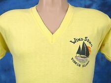 vintage 80s WIND SONG VIRGIN ISLANDS SAIL SUNSET T-Shirt XS boat beach surf thin