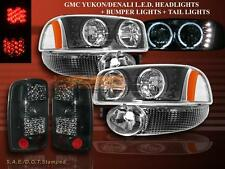 2000-06 GMC YUKON XL HEADLIGHTS LED HALO BLK /BUMPER /LED TAIL LIGHTS DARK SMOKE