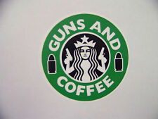Guns and Coffee 2nd Amendment  Decal Funny Bumper Sticker Decal Starbucks Green