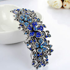 Barrette Metal Hair Clip Silver/Gold Blue and Crystal Rhinestone Hair pin Clips