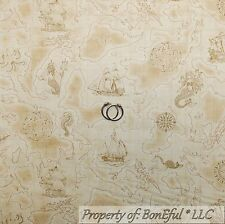 BonEful Fabric FQ Cotton Quilt Brown PIRATE Ship Sail Boat Ocean Boy Map S Toile