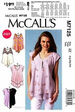 McCall's Sewing Pattern M7125 Women's L-XXL easy pullover Tops Tunics 7125
