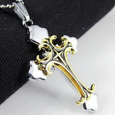 Fashion Unisex's Men Stainless Steel Cross Necklace Pendant Chain Jewelry Gift