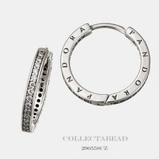 Authentic Pandora Sterling Silver PANDORA Signature CZ Hoop Earrings 290558CZ
