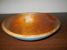 ANTIQUE WOOD WOODEN BOWL WITH NEW BLUE PAINT
