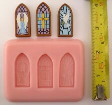 STAIN GLASS WINDOWS SET OF SILICONE MOULDS FOR CAKE TOPPERS, CHOCOLATE, CLAY ETC