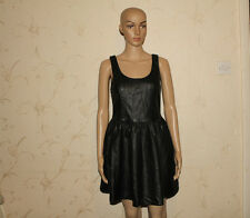 Black Look Leather DIVIDED Mini Flipped Party Clubwear Dress Size 12 / 38 L 31