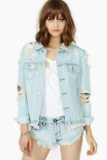 UNIF Outsider Blue Denim Distressed Jacket. Unworn.RRP £140 dolls Kill Nast Gal